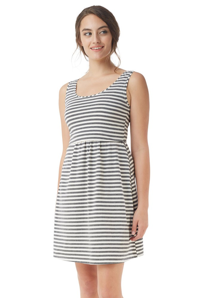 Avery Organic Cotton Scoop Neck Nursing Dress (Stripes White Grey)