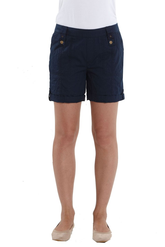 Addie Cotton Cargo Maternity Shorts (Navy)