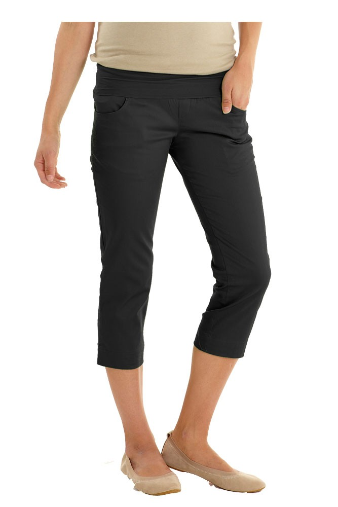 Cotton Sateen Pencil Maternity Capris (Black)