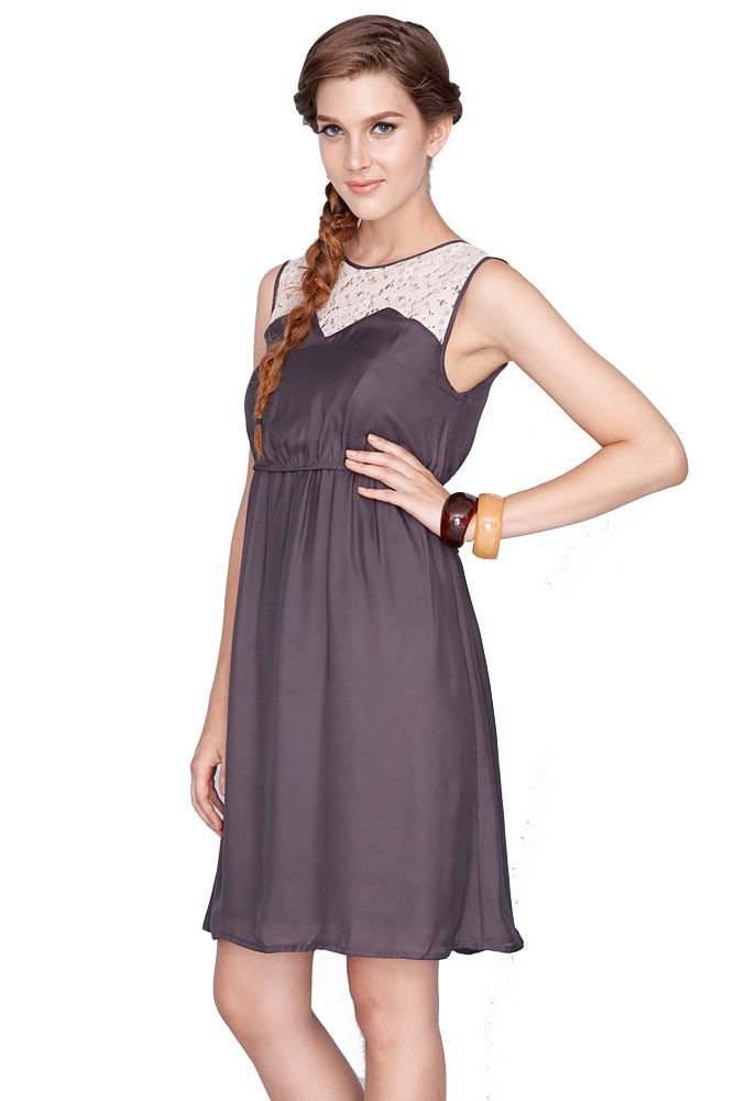 Kaya Lace Trim Nursing Dress (Grey)