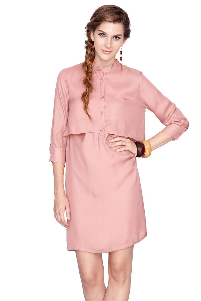 Bobbie Nursing Shirtdress (Blush)
