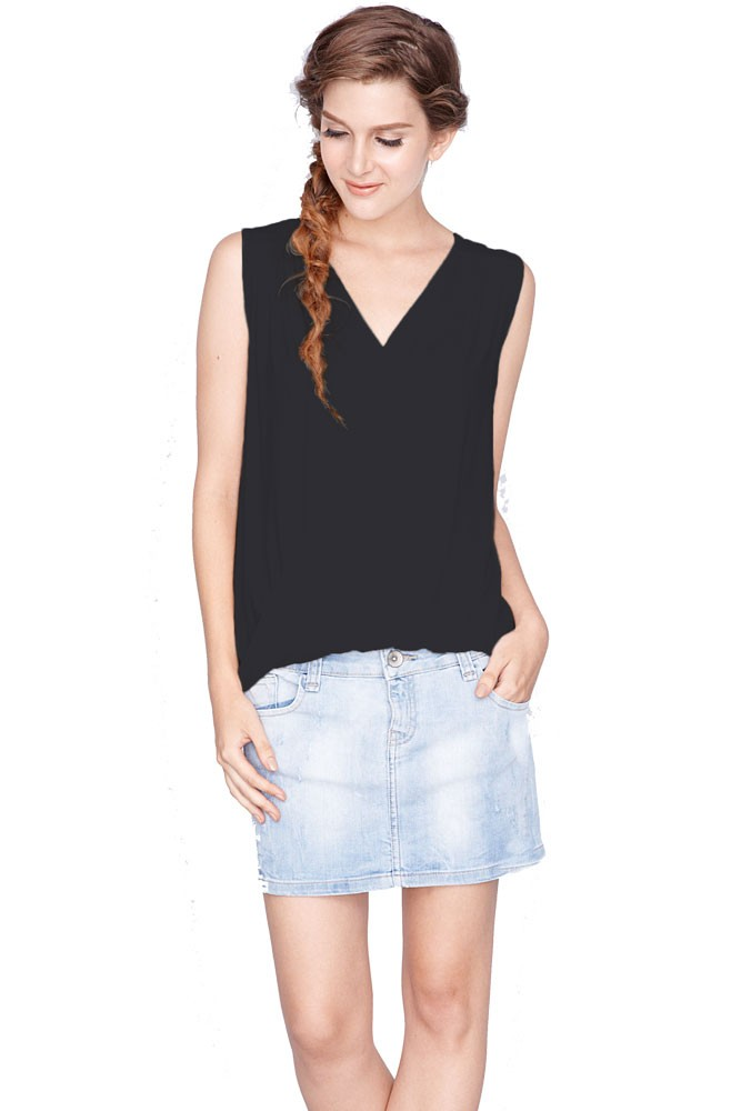 Alba Twist V-Neck Nursing Top (Black)