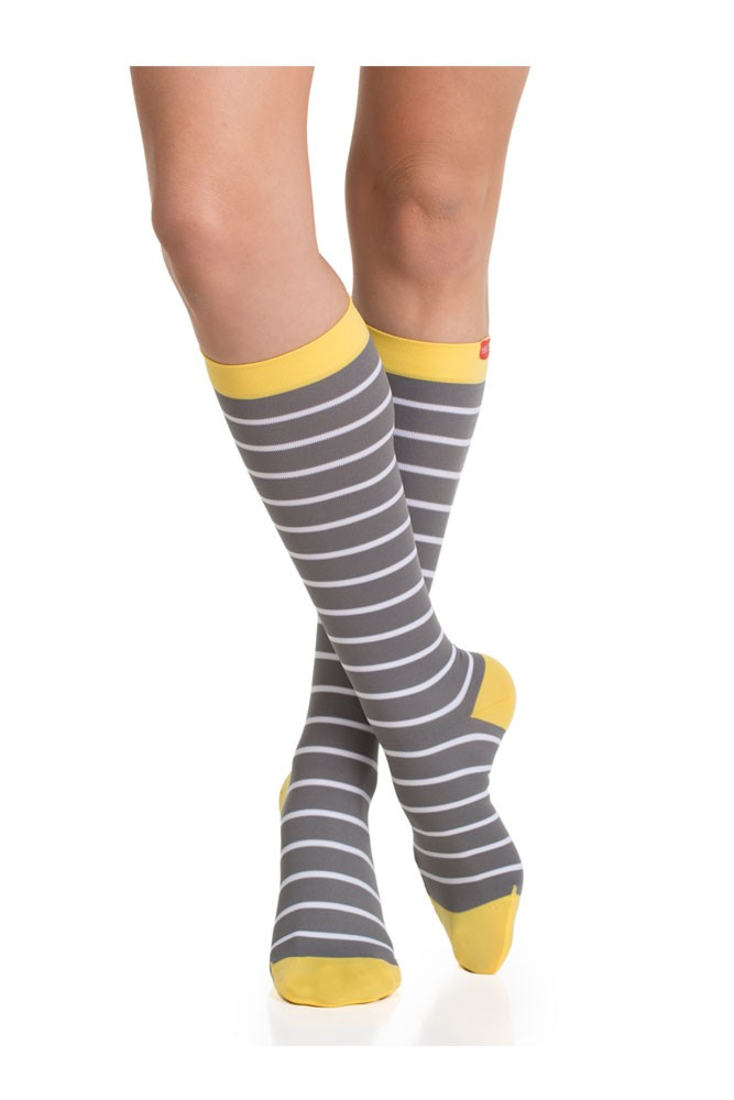 Vim & Vigr 15-20 mmHg Women's Stylish Compression Socks - Nylon (Grey, White & Yellow)