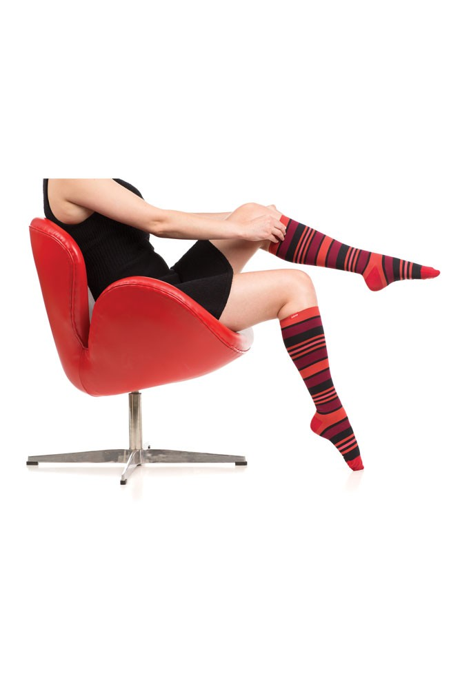 Vim & Vigr 15-20 mmHg Women's Stylish Compression Socks - Nylon (Coral & Black Fun Stripes)