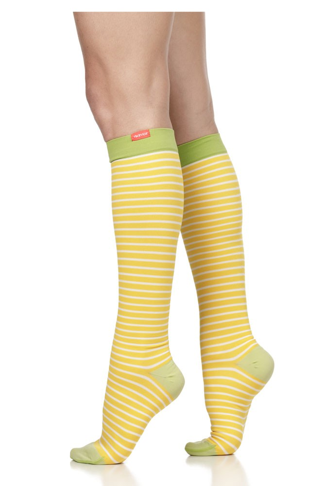 Vim & Vigr 15-20 mmHg Women's Stylish Compression Socks - Nylon (Lemon & Lime Stripe)