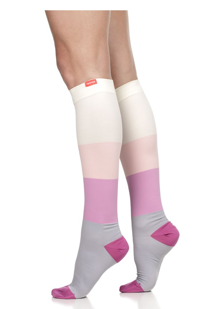 Vim & Vigr 15-20 mmHg Women's Stylish Compression Socks - Nylon (Pink & Grey Color Block)