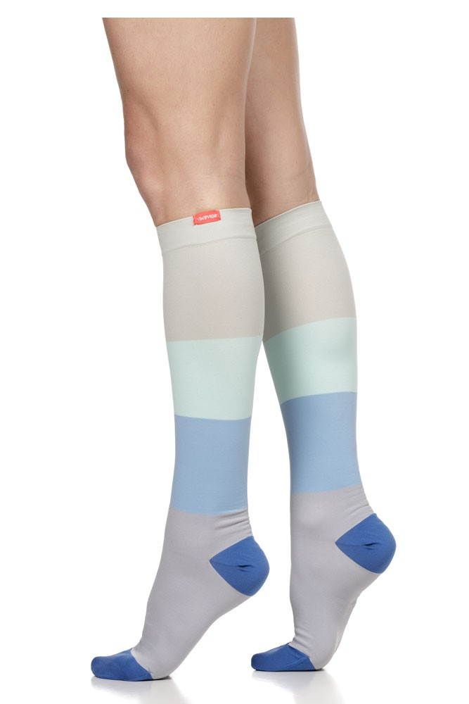Vim & Vigr 15-20 mmHg Women's Stylish Compression Socks - Nylon (Sea Glass & Grey Color Block)