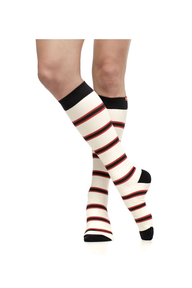 Vim & Vigr 15-20 mmHg Women's Stylish Compression Socks - Nylon (Cream & Crimson Stripe)