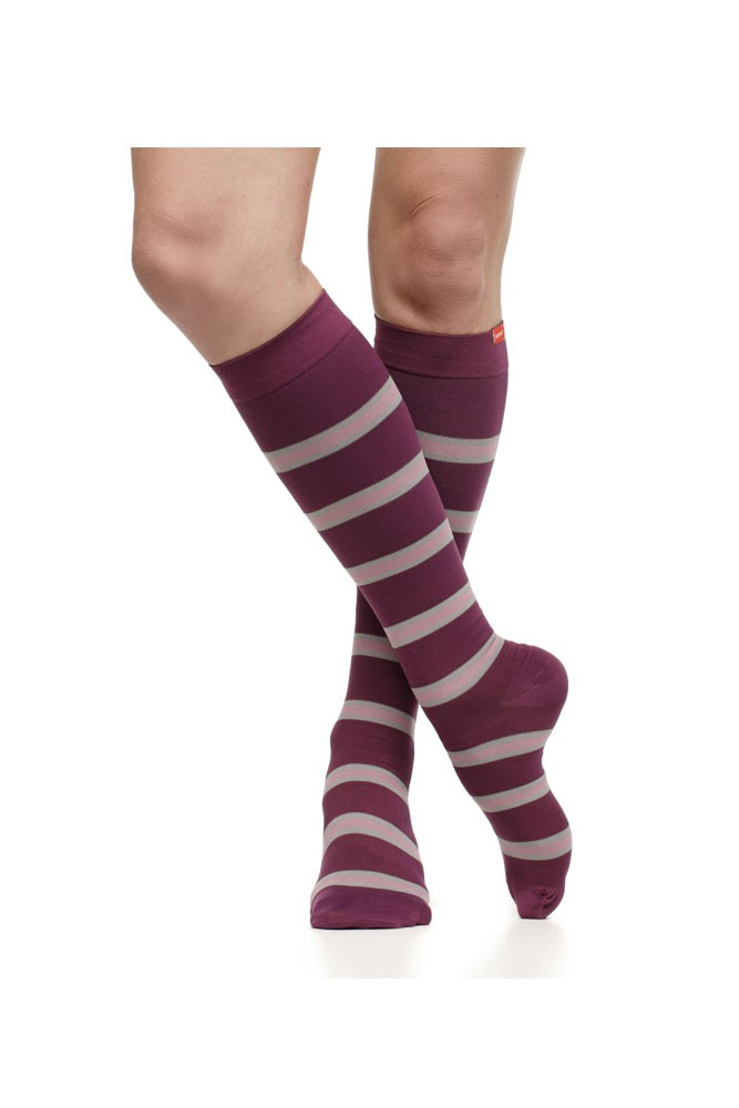 Vim & Vigr 15-20 mmHg Women's Stylish Compression Socks - Nylon (Plum & Mauve Stripe)