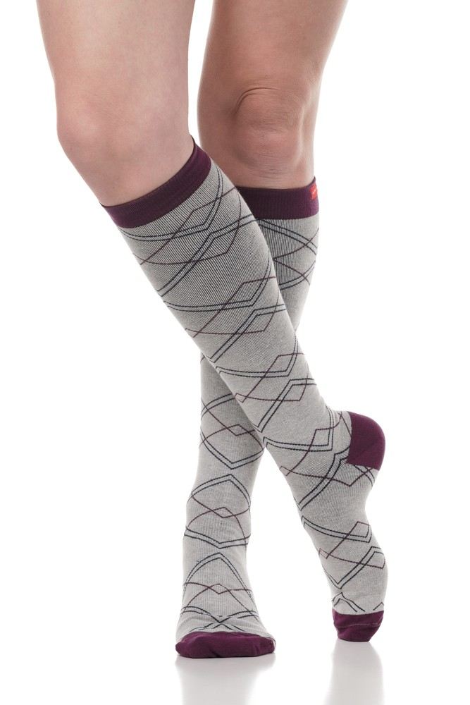 Vim & Vigr 15-20 mmHg Women's Stylish Compression Socks - Cotton (Light Grey & Plum Diamonds)