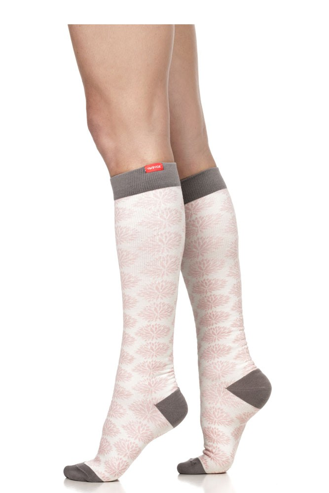 Vim & Vigr 15-20 mmHg Women's Stylish Compression Socks - Cotton (Pink & Cream Mums Floral)