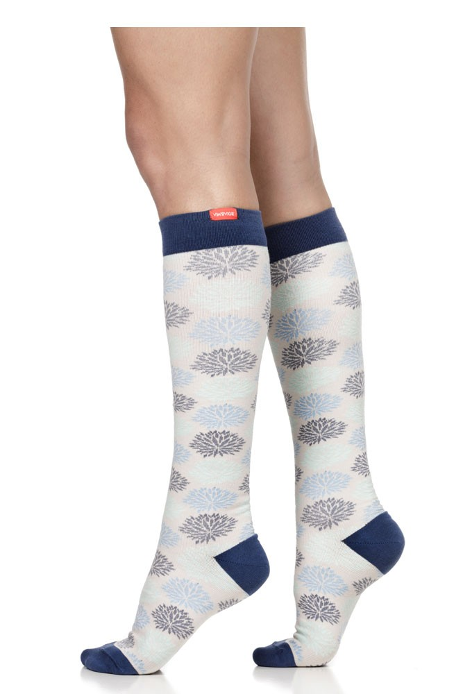 Vim & Vigr 15-20 mmHg Women's Stylish Compression Socks - Cotton (Sea Glass & Grey Mums Floral)