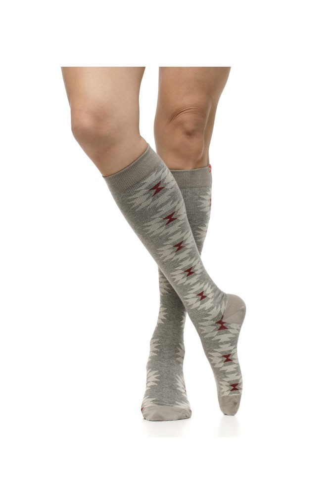 Vim & Vigr 15-20 mmHg Women's Stylish Compression Socks - Cotton (Sedona: Flint & Flame)
