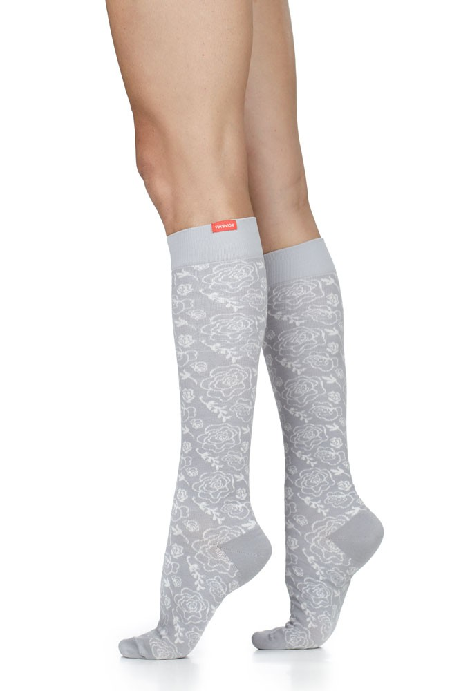 Vim & Vigr 15-20 mmHg Women's Stylish Compression Socks - Cotton (Juliet Floral: Grey & Cream)