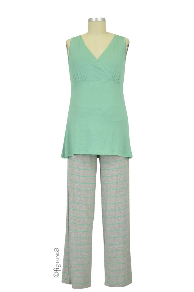 Roxanne 5-pc. Nursing PJ Set with Baby Gown & Gift Bag (Sea Foam)