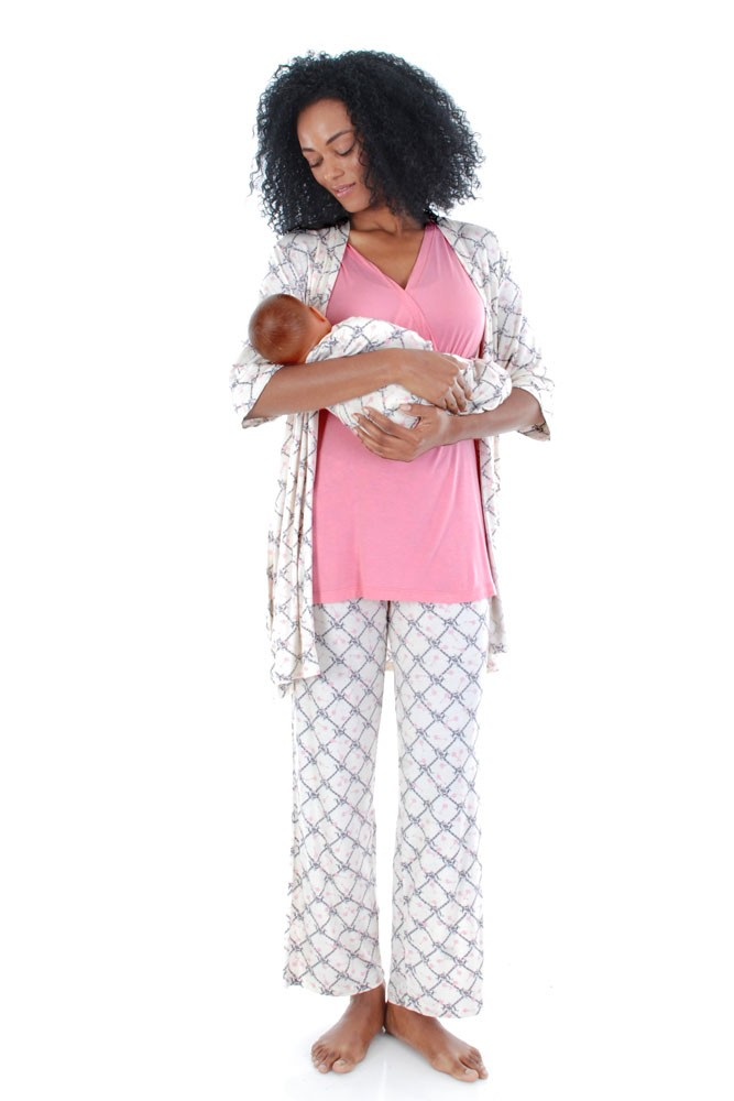 Roxanne 5 Piece Maternity and Nursing PJ Pant Set with Robe with Gown (Duchess)