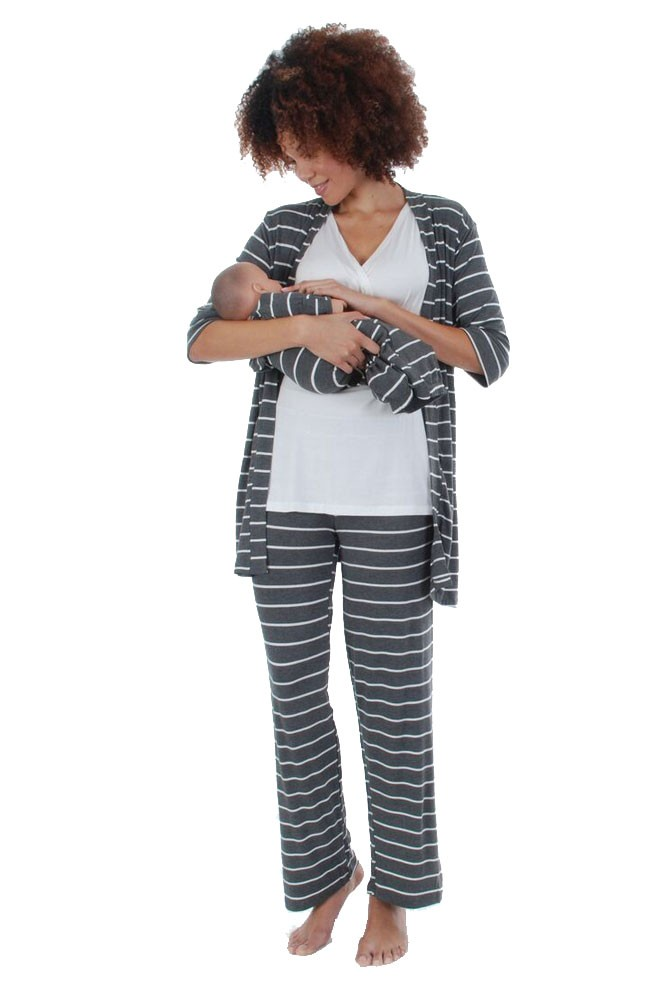 Roxanne 5 Piece Maternity and Nursing PJ Pant Set with Robe with Gown (Charcoal Stripes)