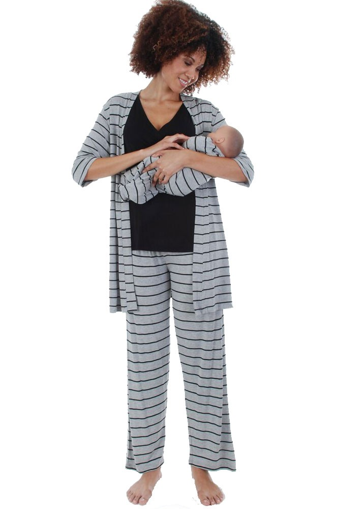 Roxanne 5 Piece Maternity and Nursing PJ Pant Set with Robe with Gown (Heather Grey Stripes)