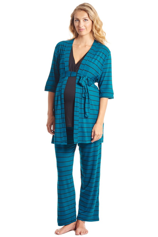 Roxanne 5 Piece Maternity and Nursing PJ Pant Set with Robe with Gown (Teal Stripe)