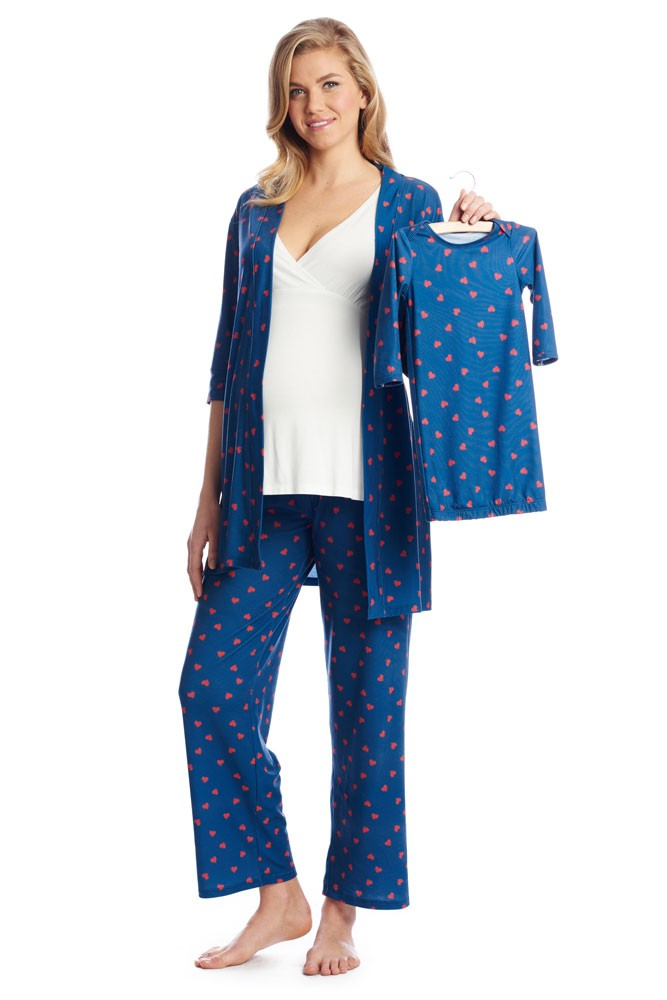 Roxanne 5 Piece Maternity and Nursing PJ Pant Set with Robe with Gown (Hearts)