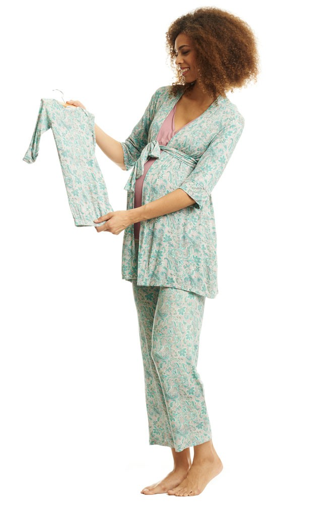 Roxanne 5 Piece Maternity and Nursing PJ Pant Set with Robe with Gown (Paisley)