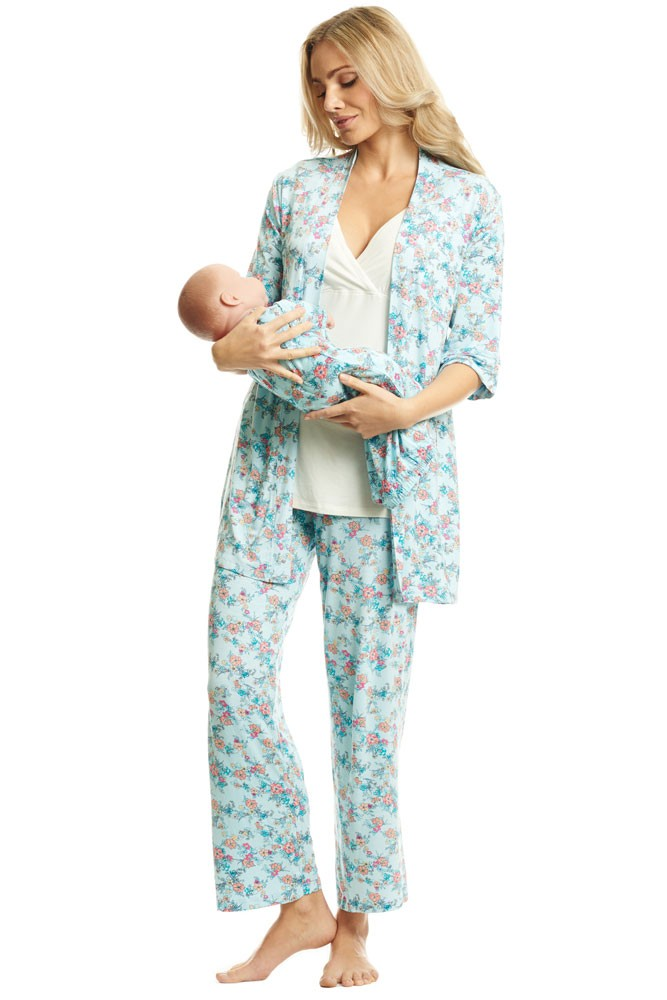 Roxanne 5 Piece Maternity and Nursing PJ Pant Set with Robe with Gown (Azure Mist)