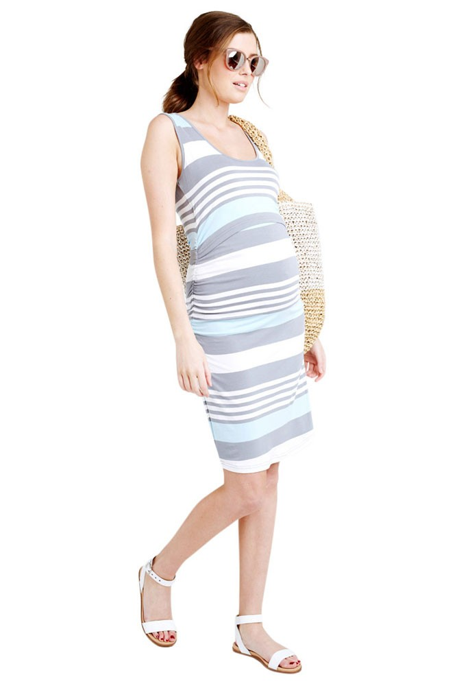 Vanna Striped Maternity & Nursing Tube Dress (Blue Chambray Stripe)