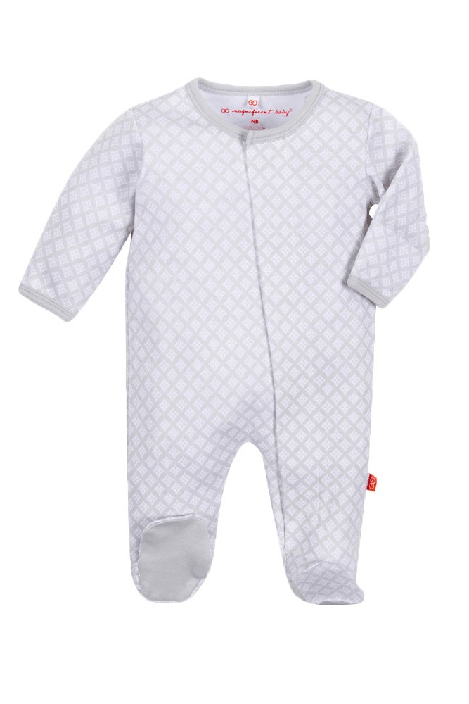 Magnetic Me™ by Magnificent Baby Boy's Cotton Footie (Gray Diamonds)