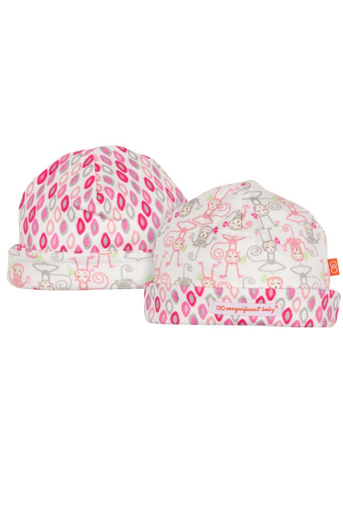 Magnificent Baby Magnetic Me™ Reversible Baby Girl Cap- Yoga Monkey (Pink)