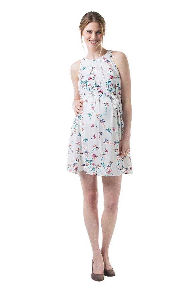 Carmene Bird Print Maternity & Nursing Dress (White)