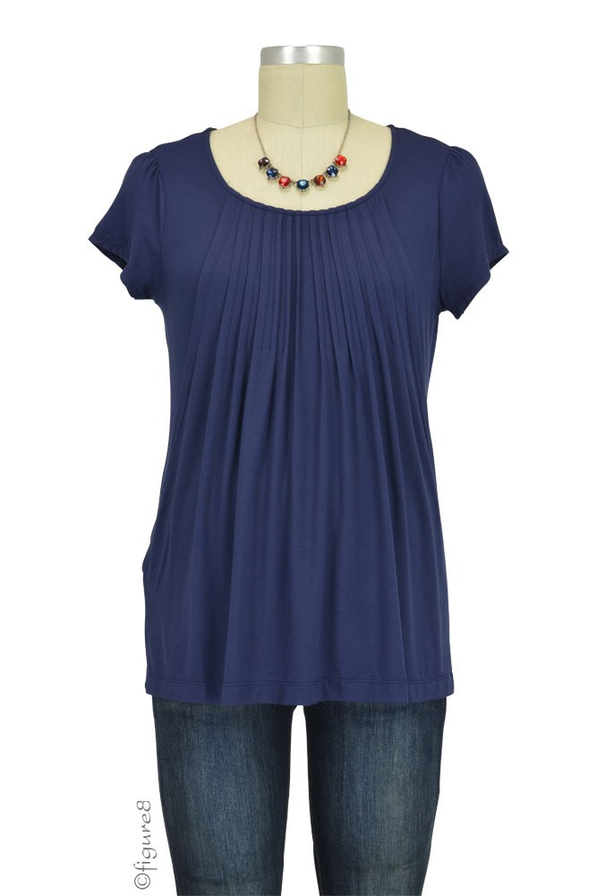 Sophie & Eve Safia Bamboo Pleated Nursing Top (Washed Navy)