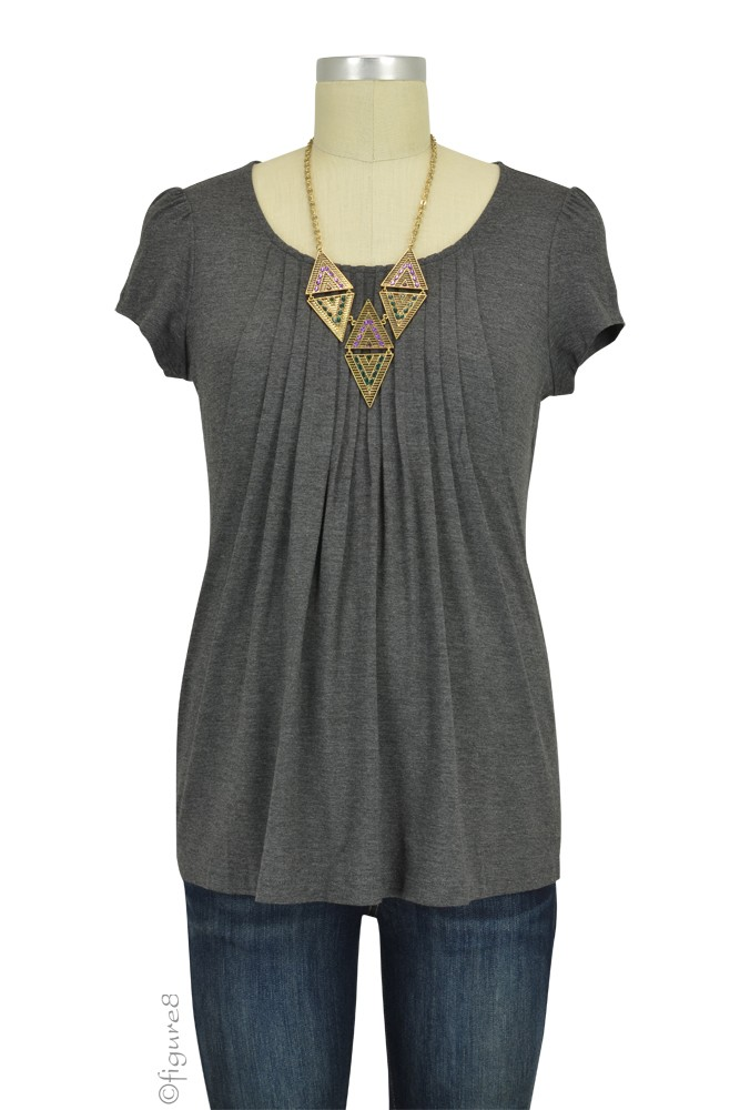 Sophie & Eve Safia Bamboo Pleated Nursing Top (Dark Heather Grey)