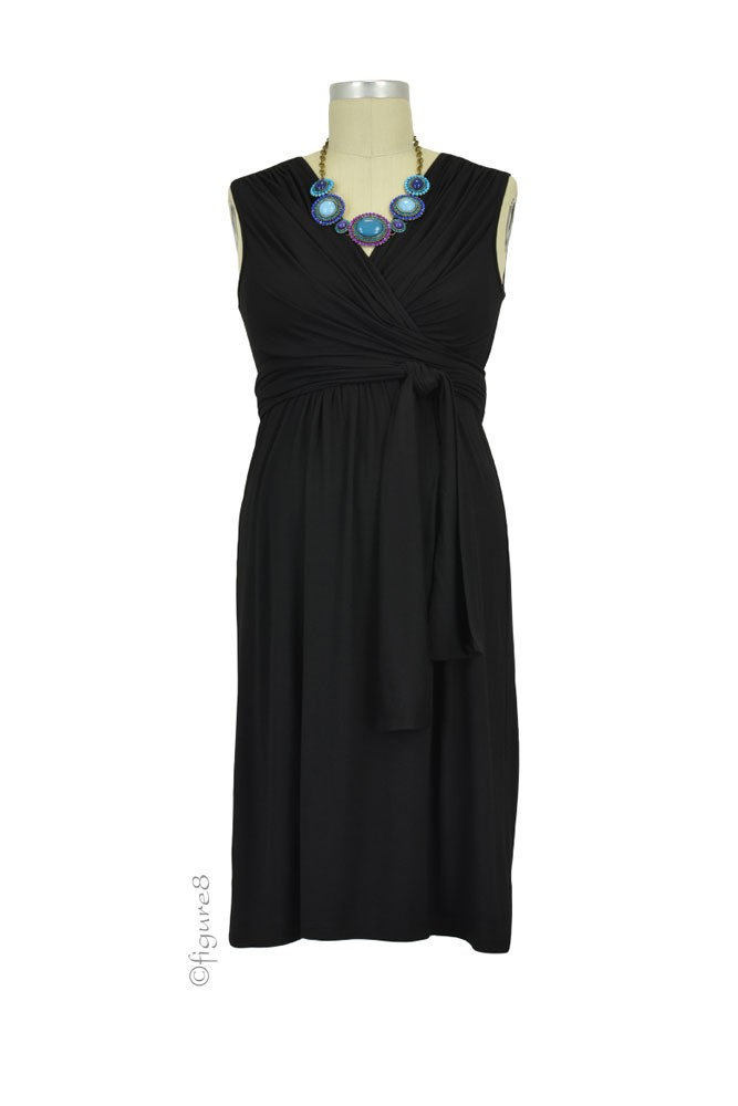 Sophie & Eve Charlotte Bamboo Wrap Maternity & Nursing Dress - Sleeveless (Black)