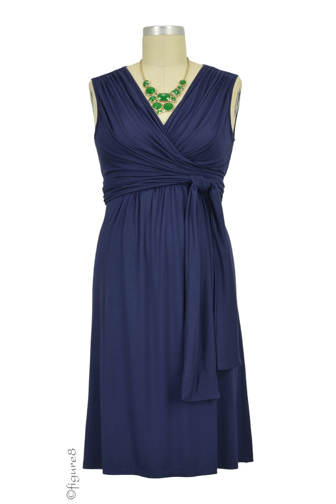 Sophie & Eve Charlotte Bamboo Wrap Maternity & Nursing Dress - Sleeveless (Washed Navy)