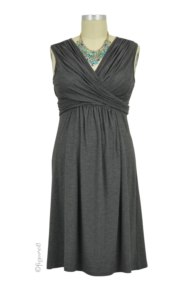 Sophie & Eve Charlotte Bamboo Wrap Maternity & Nursing Dress - Sleeveless (Dark Heather Grey)