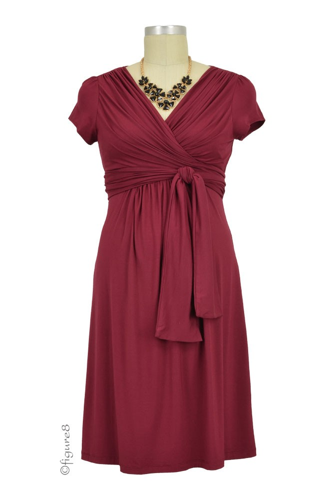 Sophie & Eve Charlotte Short-Sleeve Bamboo Wrap Maternity & Nursing Dress (Burgundy)
