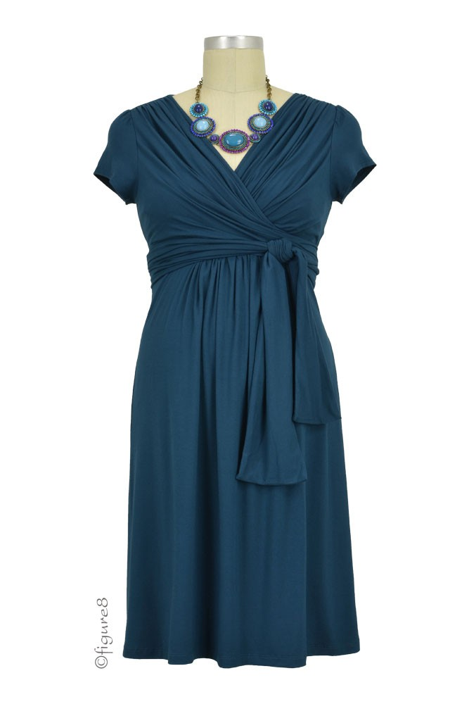 Sophie & Eve Charlotte Short-Sleeve Bamboo Wrap Maternity & Nursing Dress (Midnight Forest)