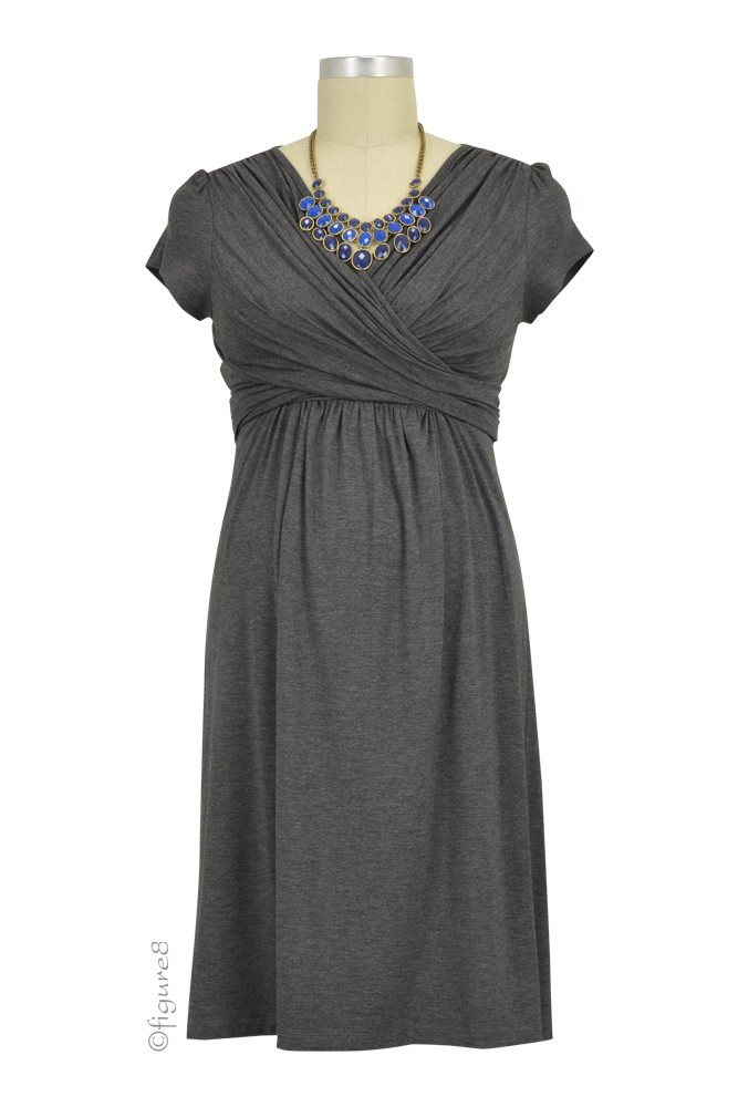 Sophie & Eve Charlotte Short-Sleeve Bamboo Wrap Maternity & Nursing Dress (Dark Heather Grey)