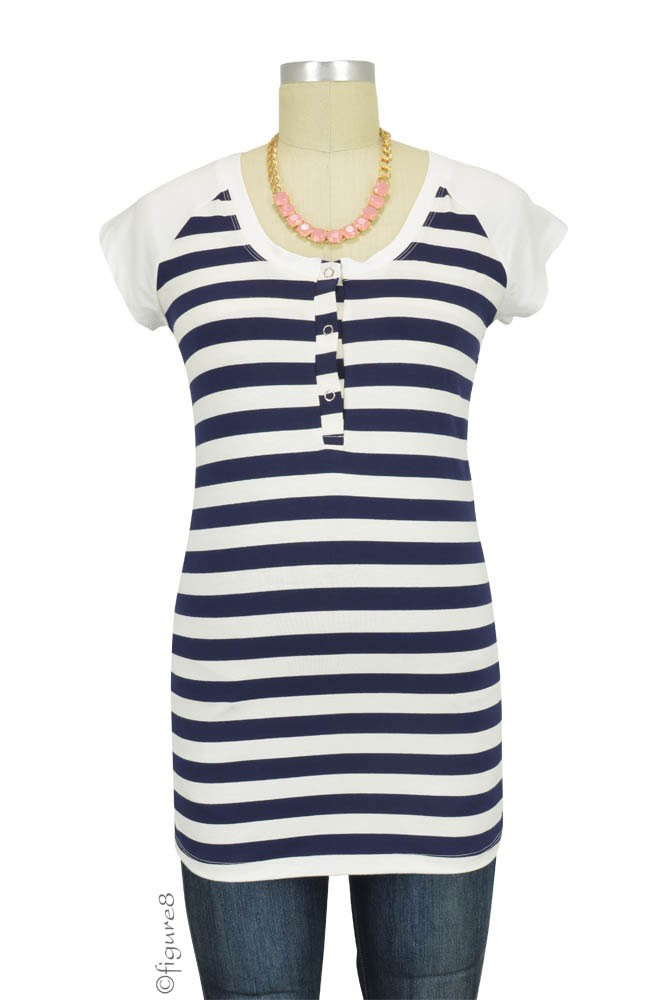 Raven Cap Sleeve Raglan Maternity & Nursing Top (Navy & White Stripes)