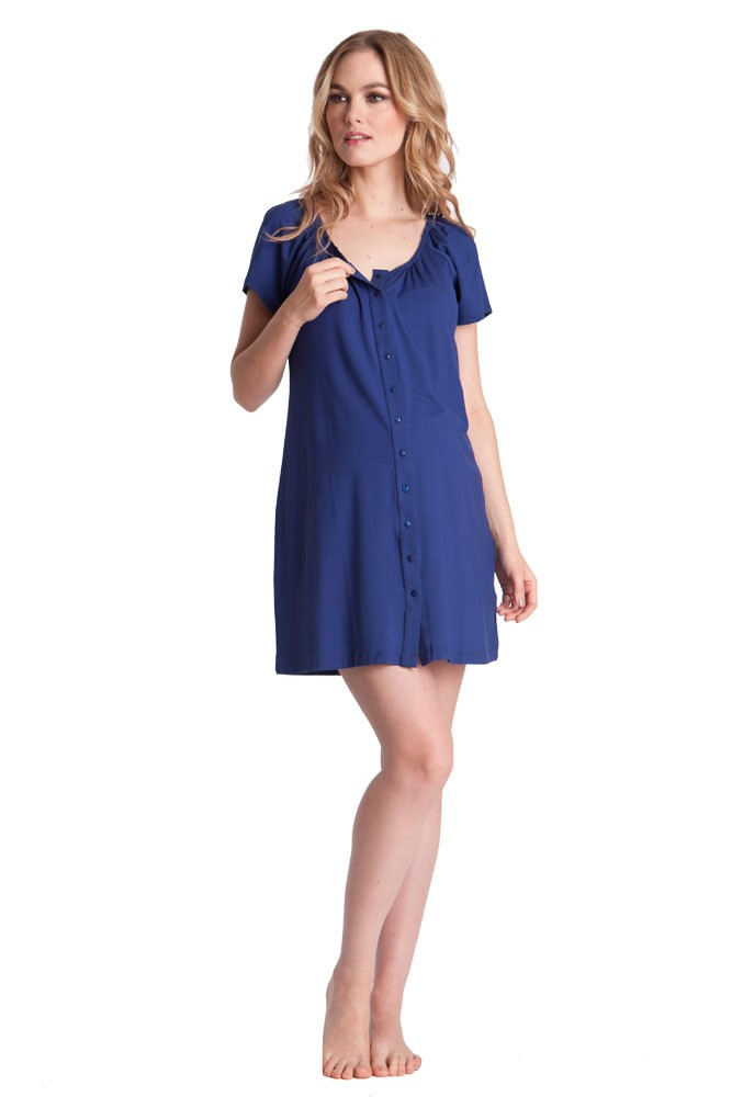 Seraphine Gemma Button Down Nursing Nightie (Midnight Blue)