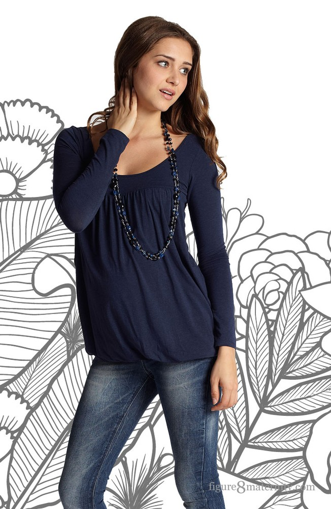 Britney Bubble Long Sleeve Nursing Top (India Ink)