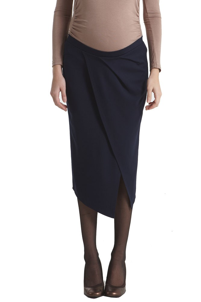 Uma Draped Midi Maternity Skirt (Navy)