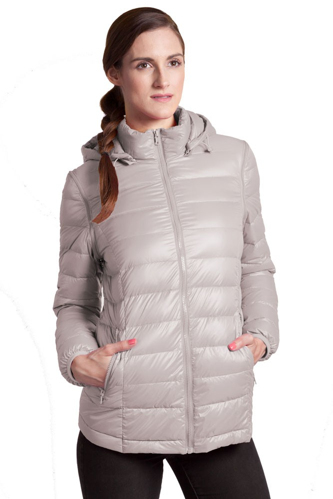 Modern Eternity Vale 5-in-1 Lightweight Down Maternity Jacket (Grey)