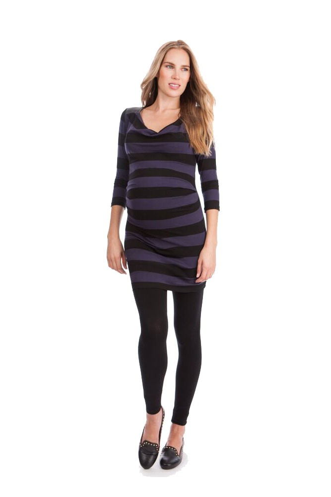 Seraphine Amity Maternity Top (Blue & Black Stripes)