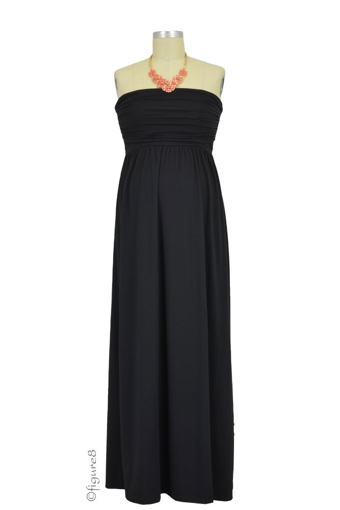 The MW Ruched Tube Maxi Maternity & Nursing Dress (Black)