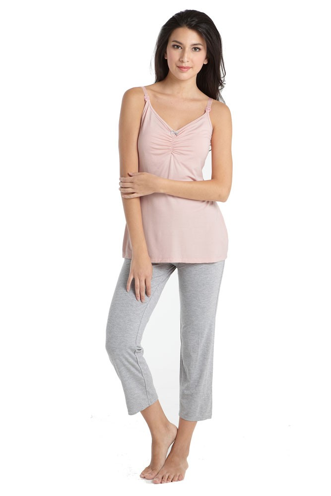 Mothers en Vogue Bamboo Caminurse PJ & Robe Set (3 pc.) (Pink-Grey)