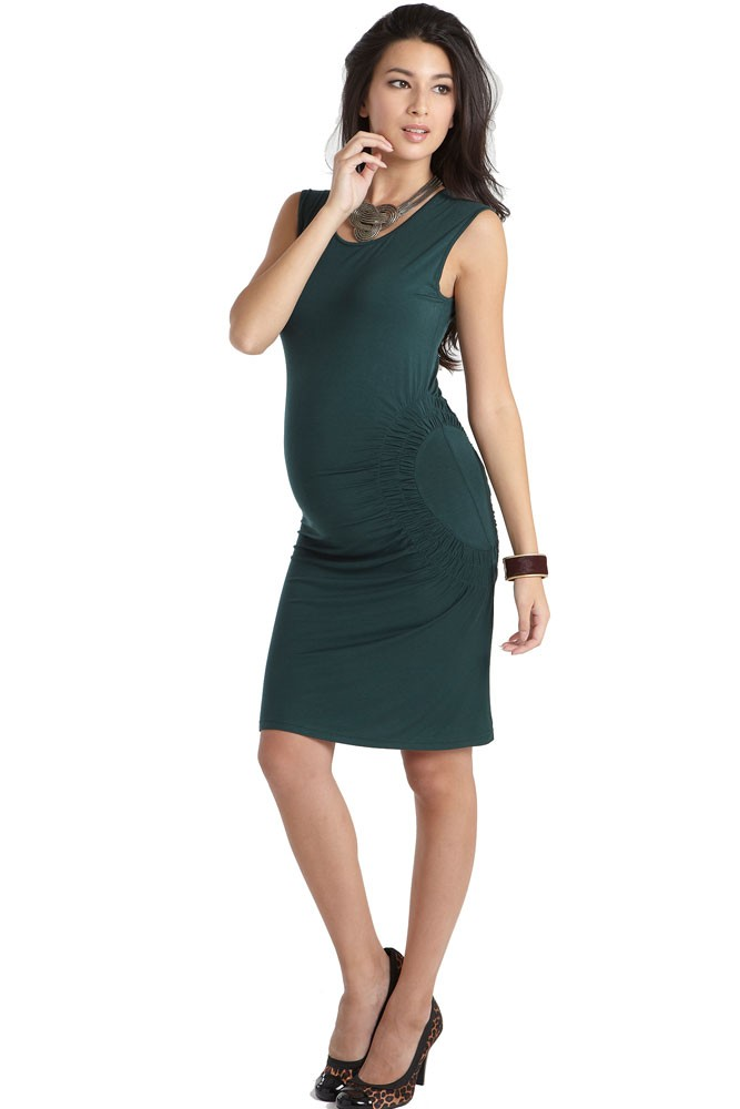 Elemental Cresent Ruched Maternity Dress (Alpine Green)