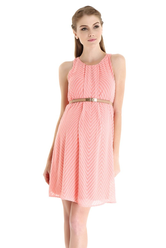 Stella Woven Maternity & Nursing Dress with Belt (Coral Pink Chevron)