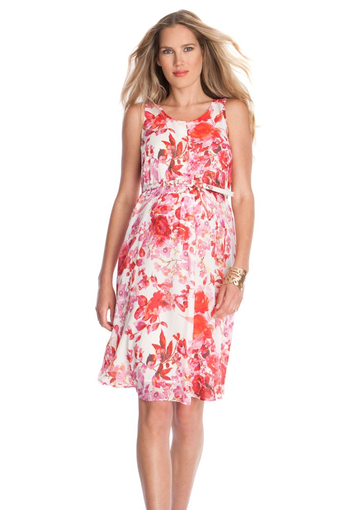 Seraphine Everly Maternity Dress (Pink & Red Floral Print)