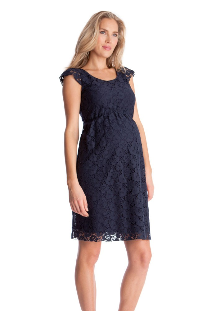 Seraphine Sloane Lace Maternity Dress (Navy)
